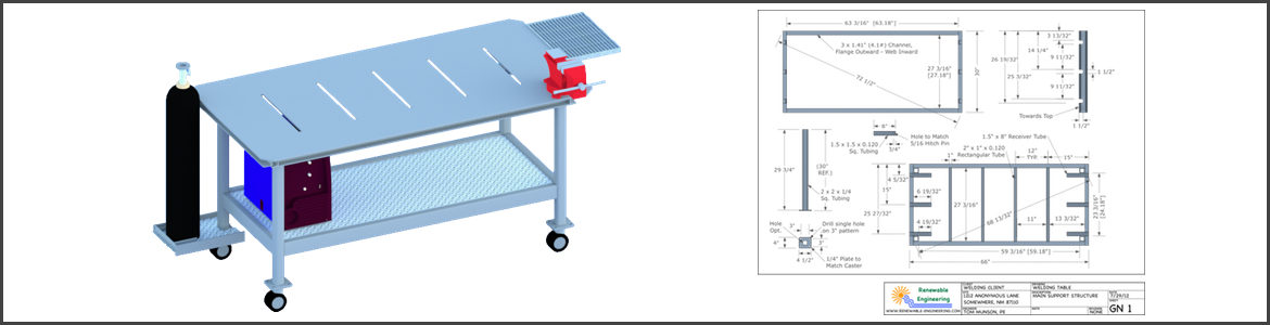 Welding Table SketchUp Model and LayOut Drawing